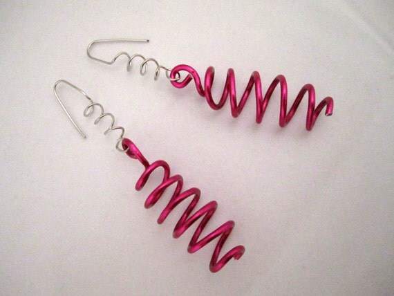 Fun-ky Fuschia and Silver Coiled Wire Earrings