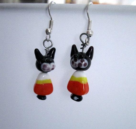 Candy Corn Cat Earrings 2