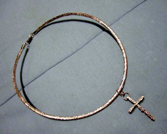 Geek Chic Upcycled and Repurposed Coaxial Cable and Cross Necklace