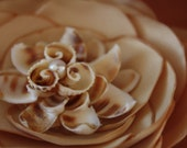 Oceana- A One of a Kind Beach Themed Wedding Flower Fascinator with VINTAGE Shell and Pearl Centerpiece.