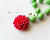 Little Girl Bracelet, Apple Green Beads and Cherry Red Flower