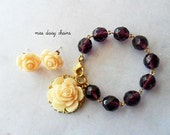 Custom Listing For Kristine: little girl bracelet and earrings, purple glass, cream flowers
