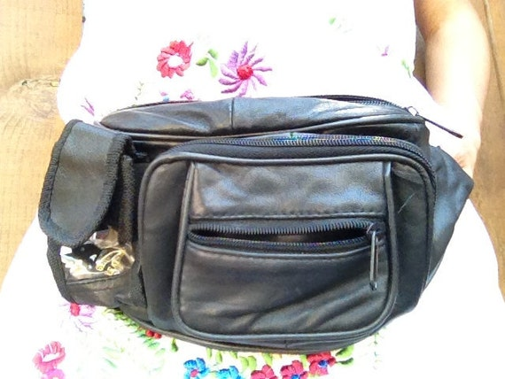 Classic 80s leather fanny pack with cell phone holder
