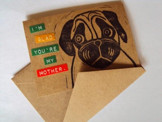 Handmade Pug Card for Mom