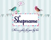 Premade Etsy Shop set with cute birds. Vintage, and very romantic design. Flower designs. Banners and avatars.