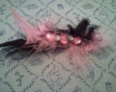 FREE SHIPPING: Feather rhinestone mini barrette