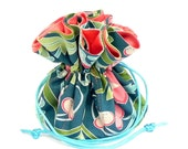 Drawstring Jewelry Pouch - Teal and coral travel bag- Jane Sassaman fabric