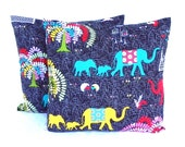 Pillow Covers. Set of Two 16x16. Grey, Yellow and Turquoise elephant and peacock fabric