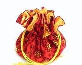 Drawstring Jewelry Pouch - Red and Yellow  Provencal floral travel bag