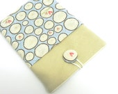 Kindle Fire Cover Case, eReader Padded Sleeve - Pale blue, brown and cream fabric - Linen