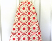 Ironing Board Cover - Red and Cream floral fabric
