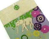 iPad Cover Case, iPad Padded Sleeve - Echino Japanese Linen - Elephant in the Savannah
