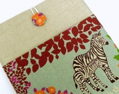 iPad Cover Case, iPad Padded Sleeve - Echino Japanese Linen - Zebra in the Savannah