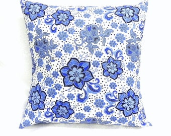Decorative Pillow Covers. 18x18 Sapphire blue and white floral cotton fabric