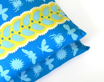 Decorative Pillow Covers. Set of Two 16x16. Blue and yellow Jane Sassaman Prairie Gothic Night Life fabric