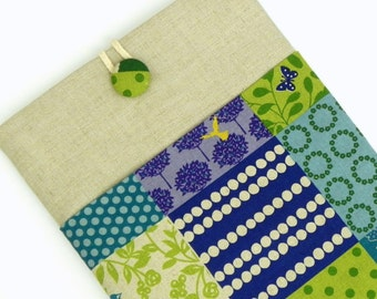 iPad Cover Case, iPad Padded Sleeve - Echino Japanese Linen - Bird in teal and green