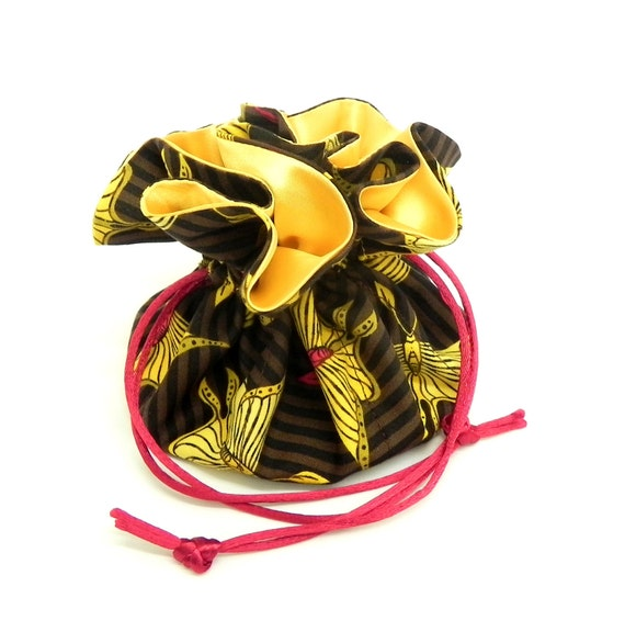 Drawstring Jewelry Pouch - Brown, red and yellow butterflies travel bag