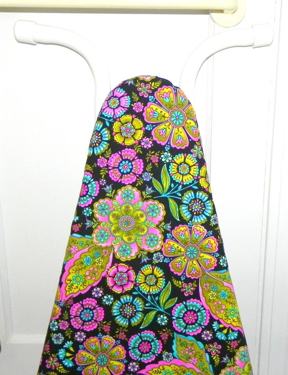 Ironing Board Cover - Flowers in aqua, pink, green and yellow