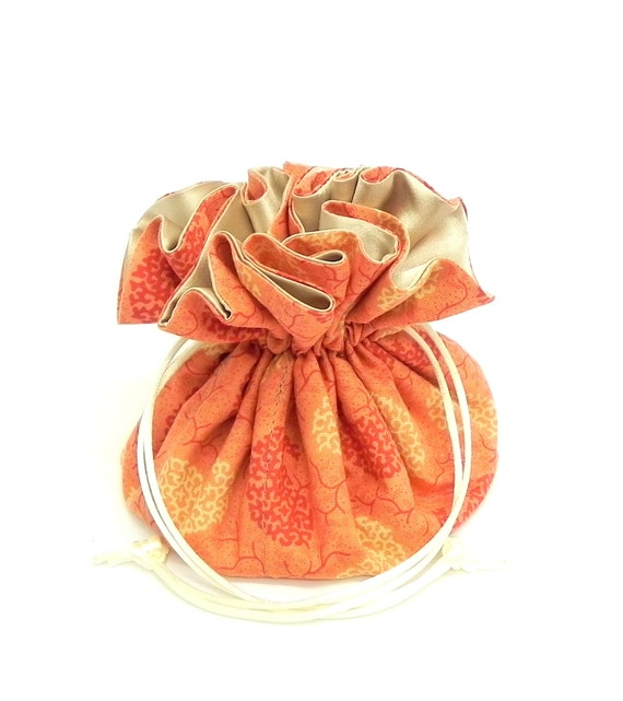 Drawstring Jewelry Pouch - Coral, peach and cream paisley travel bag
