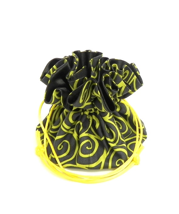Drawstring Jewelry Pouch -  Grey and yellow swirls travel bag