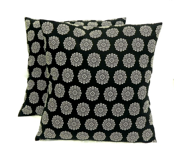 Pillow Covers. Set of Two 16x16.  Timeless Black and White flowers