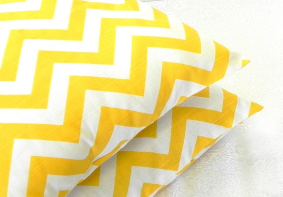 Decorative Pillow Covers. Set of Two 16x16. Yellow and White Chevron - Geometric