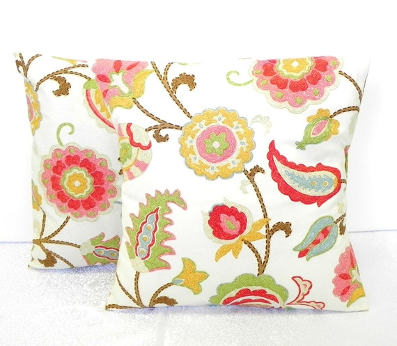 Pillow Covers. Set of Two 16x16. Braemore Jacobean Floral fabric