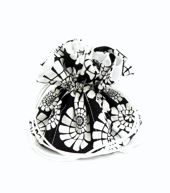 Drawstring Jewelry Pouch - Black and white floral travel bag