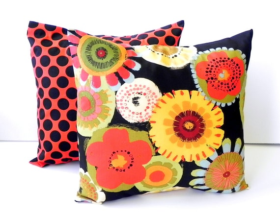Decorative Pillow Covers. Set of Two 16x16.   Black and red poppies and polka dots floral fabric
