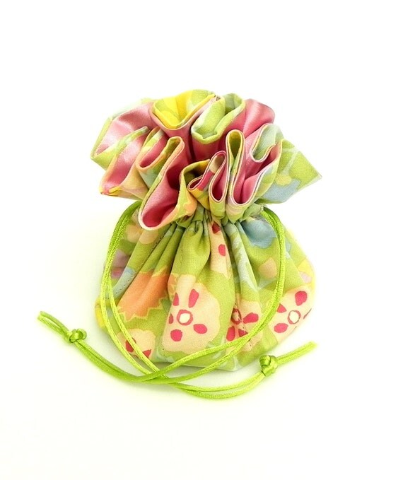 Drawstring Jewelry Pouch - green, yellow, blue and pink pastel travel bag