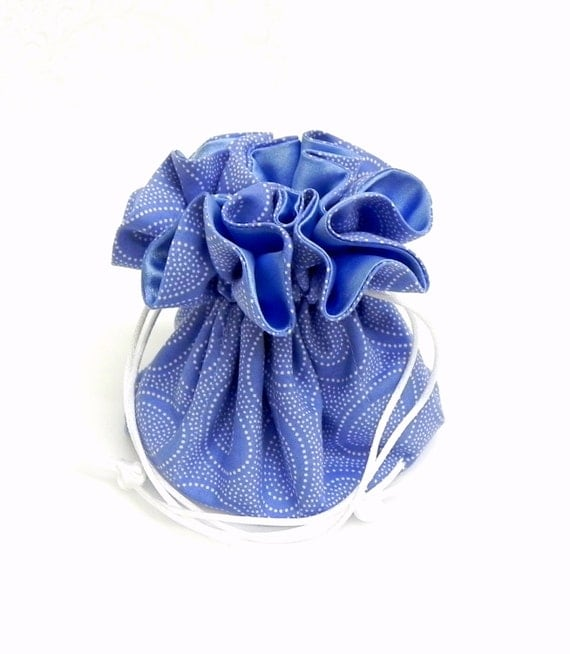 Drawstring Jewelry Pouch - Cornflower blue and white dots travel bag
