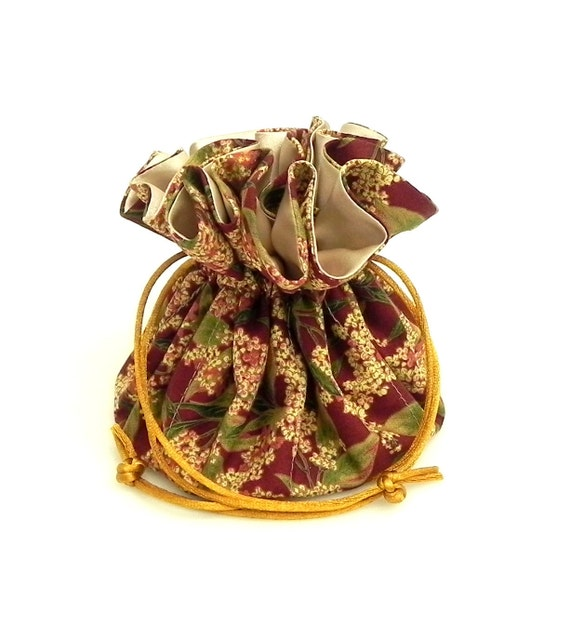 Drawstring Jewelry Pouch -  Jewelry organizer - Burgundy, green, beige and caramel flower travel bag