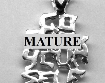Mature Go F--k Yourself Pendant  Solid Sterling Silver Free Domestic Shipping