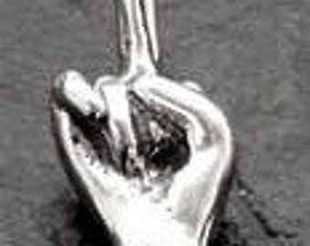 Mature Middle Finger Penis Pendant  Sterling Silver Domestic Free