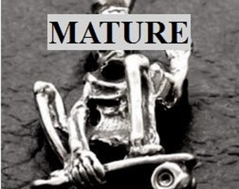 Mature Skeleton Skateboard Pendant  Solid Sterling Silver Free Domestic Shipping
