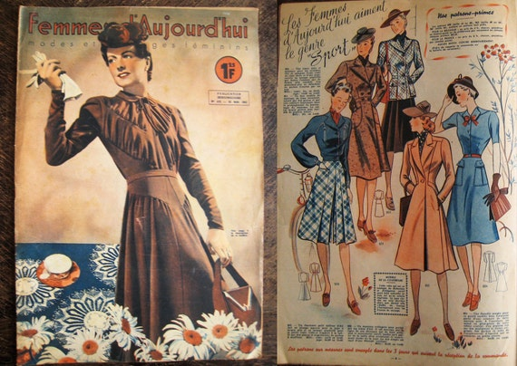 vintage 1940s french magazine journal wwii fashion france. Black Bedroom Furniture Sets. Home Design Ideas