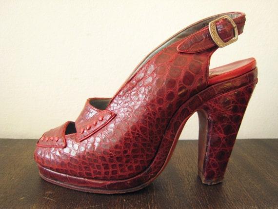 "1940s vintage RED art deco heels bombshell slingback peeptoe platform pumps croc leather shoes size 4 insole 8.5"" 1930s"