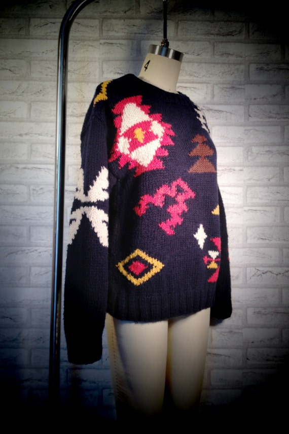 Navy Hand-Knit Navajo Design Sweater