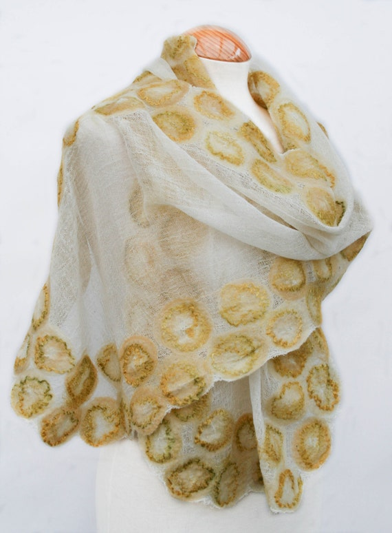 Hand Dyed, Nuno Felt Scarf or Stole on Cotton, Gold and Olive on Cream