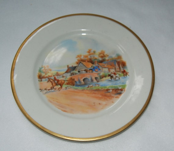 O.P. Co. Syracuse China British hunting plate with horses ((( NEW PRICE )))