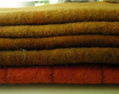 MIXED GOLDS RUSTS Hand Dyed Felted Wool Fabric  for Rug Hooking and Applique Bundle