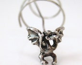 Winged Dragon Earring, Sterling Silver, 1970s Vintage, Hand Made, OOAK, Twist in and Hangs