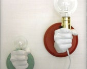 Hand Holding Bulb Wall Lamp (Red)