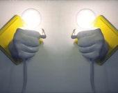 Custom Pair of Matching Hands Holding Bulbs Wall Votives (Custom)