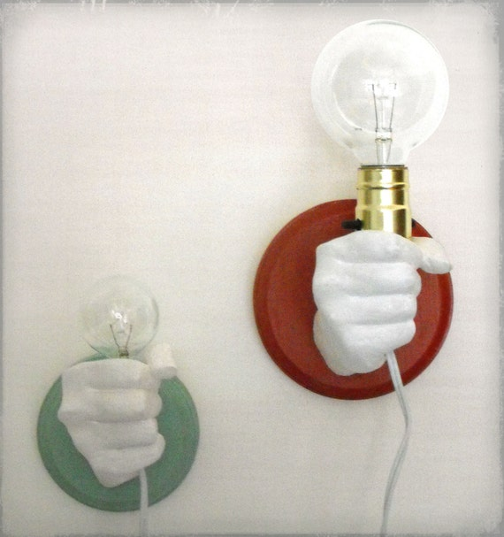 Etsy Wall Lamps : Items similar to Hand Holding Bulb Wall Lamp (Red) on Etsy