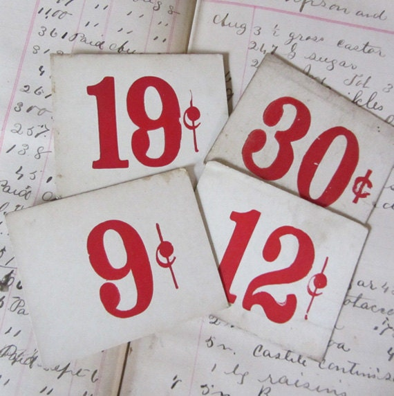 Antique Large Grocery Store Price Tags - Red Numbers - WOW