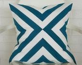 Blue Diagonal Print Pillow Cover- 20x20 throw pillow cover