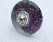 Lilac Glass Decoupage Cabinet Knob