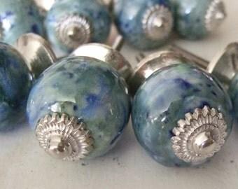 Blue Marbleized Ceramic Cabinet Knobs Set of eight