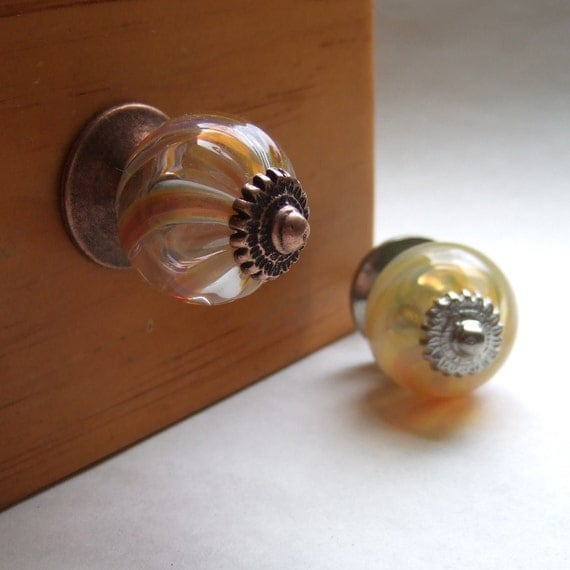 Amber and Cream Swirl Glass Cabinet Knob